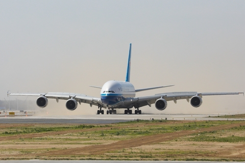 A China Southern Airbus A380 takes off after a test flight at Beijing Daxing International Airport. Photo: IC Photo