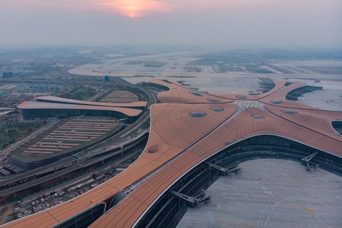 An aerial photo shows Beijing Daxing International Airport on Saturday as preparations were being made for four test flights to land there. Photo: IC Photo