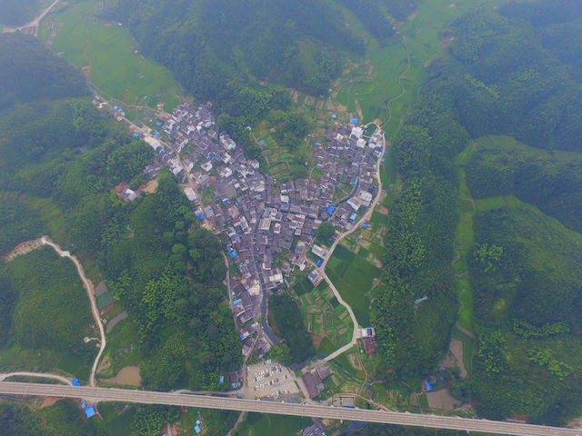 A village in Shangrao city, seen from above. Photo: VCG