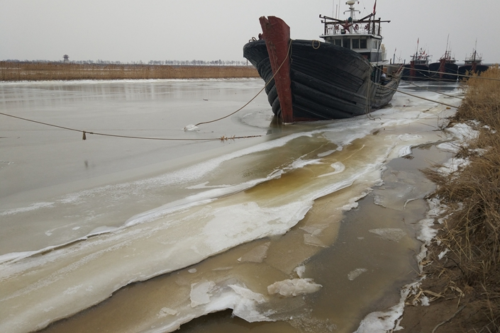 A river tainted with chemical waste in Binzhou, Shandong province on Jan. 27, 2018. Photo: IC Photo
