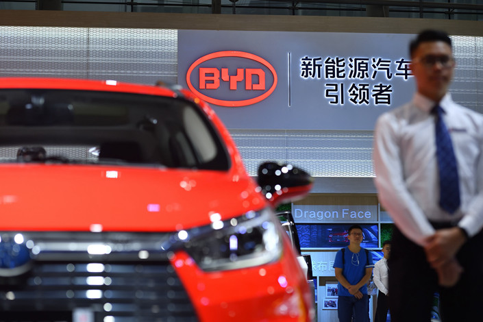 BYD's booth at an auto show in Guangzhou, South China's Guangdong province on Nov. 16. Photo: VCG