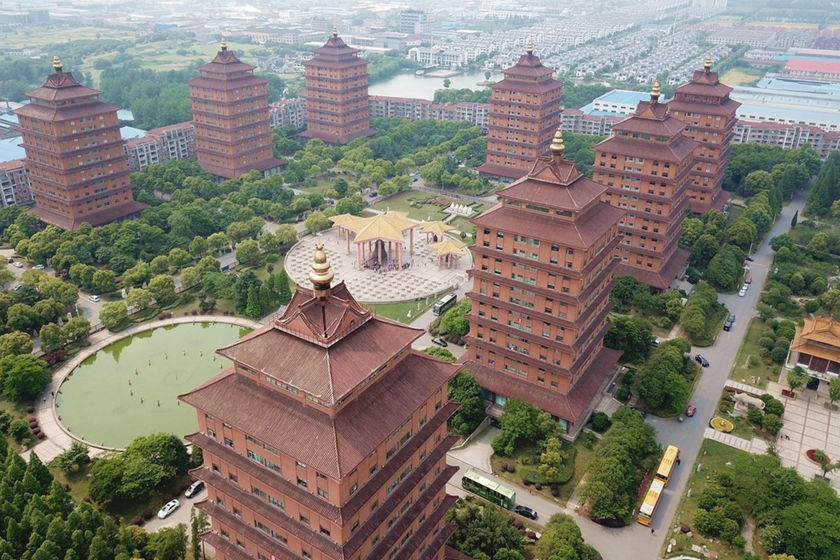 Nine landmark towers in Huaxi village, East China's Jiangsu province, are seen on Tuesday. Photo: IC Photo_Gallery: China's Richest Village