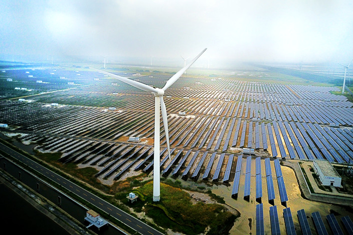 A wind and solar power generating facility in Yancheng, East China's Jiangsu province, in July 2017. Photo: IC Photo