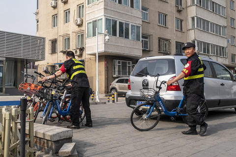 Staff arranged shared bikes in front of Beijing's Fuxing Hospital on May 15. Photo: VCG