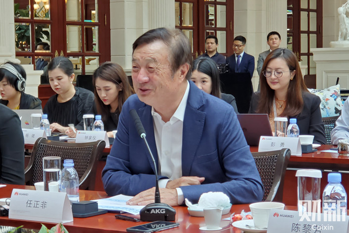 Ren Zhengfei, founder and CEO of Huawei, speaks to media at the company's headquarters in Shenzhen, Guangdong province on May 21. Photo: Zhang Erchi/Caixin