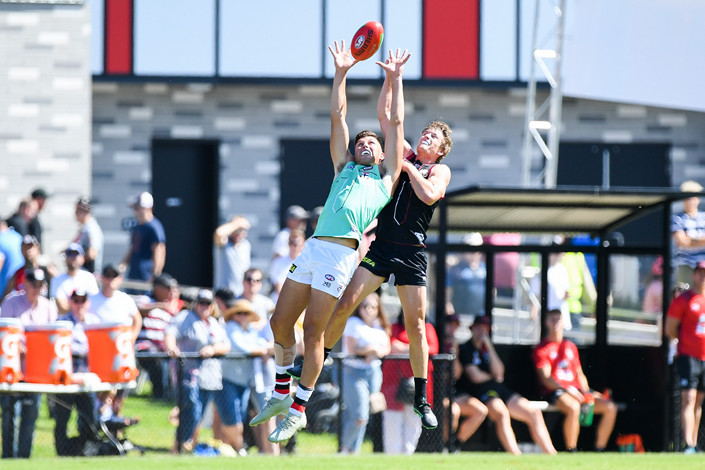 Rowan Marshall of St Kilda Football Club leaps for the ball at a game in Melbourne, Australia on Feb. 23. The team will play an exhibition match against Port Adelaide in Shanghai on Sunday. IC Photo