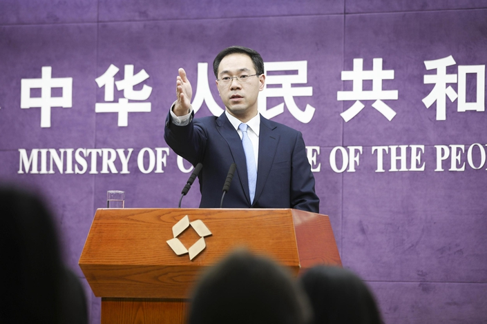 Chinese Ministry of Commerce spokesman Gao Feng. Photo: VCG