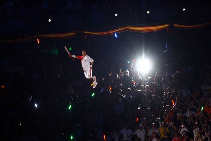Former gymnast Li Ning was the flame-lighter at the 2008 Beijing Games. Photo: Bloomberg