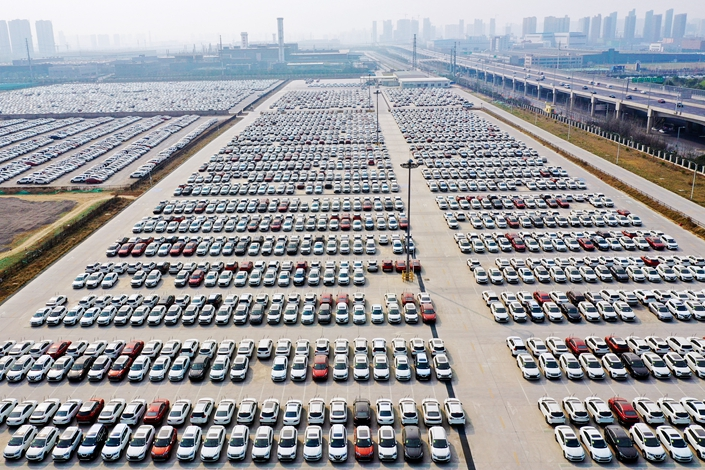 New cars in a lot in Zhengzhou, Henan province, on March 20, 2019.Photo: VCG