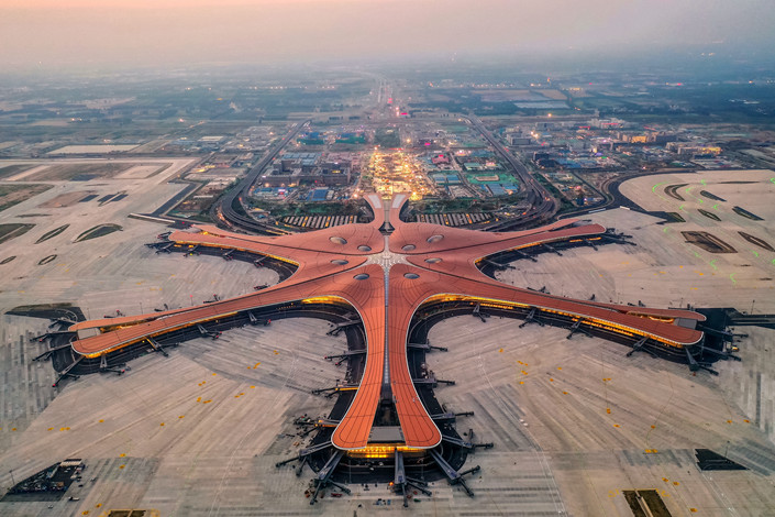Beijing's nearly completed Daxing International Airport on the evening of May 29. Photo: VCG