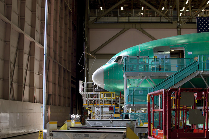 The inside of a Boeing Co. factory. Photo: Bloomberg
