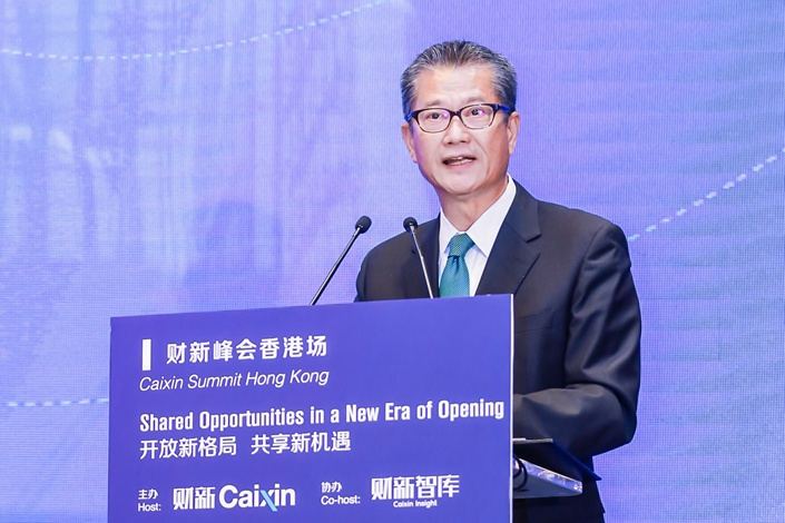 Hong Kong Financial Secretary Paul Chan Mo-po speaks at the Caixin Summit in Hong Kong in June 2018. Photo: Caixin