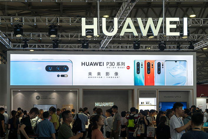 The Huawei booth at the Consumer Electronics Show Asia in Shanghai on Tuesday. Photo: VCG