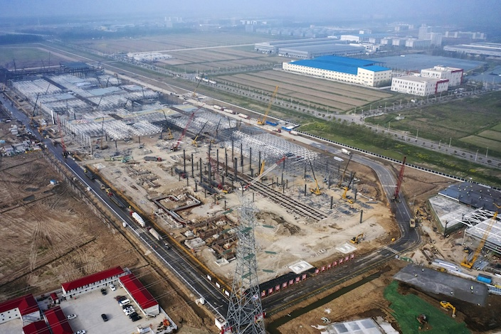 Tesla's gigafactory under construction in Shanghai. Photo: Bloomberg