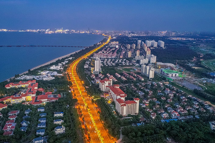 Property developments line the seaside on Sept. 20 in Haikou, South China's Hainan province. Photo: VCG