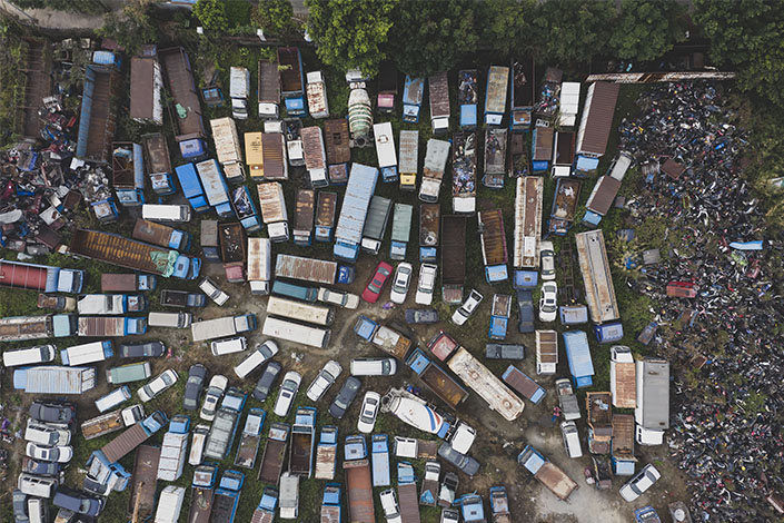 Abandoned vehicles litter a lot on Jan. 29 in Guangzhou, South China's Guangdong province. Photo: VCG