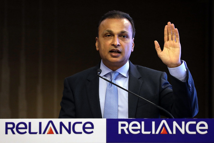 Indian industrialist and Reliance Group Chairman Anil Ambani addresses a press conference in Mumbai, India, on June 2 2017. Photo: IC Photo