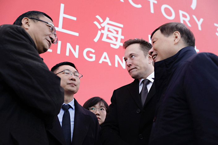 Tesla CEO Elon Musk at a ground-breaking event in Shanghai on Jan. 7. Photo: Bloomberg