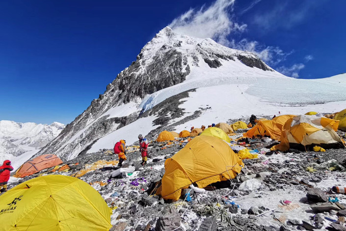 Climbers set up camp on Mount Everest on May 26. Photo: IC Photo