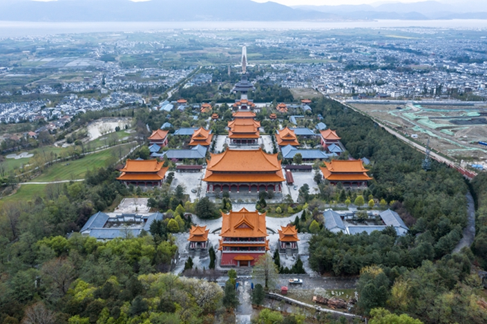 The Chongsheng Three Pagodas in Dali are seen from the air on March 27, 2019. Photo: VCG