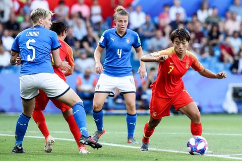 China's Wang Shuang dribbles the ball on Tuesday. Photo: VCG