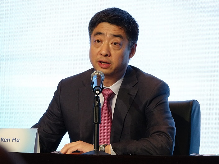 Huawei Vice President Hu Houkun, also known as Ken Hu, speaks at a press conference Wednesday. Photo: VCG