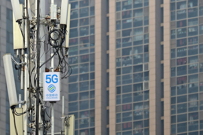 China Mobile 5G equipment in Tianjin on March 2. Photo: VCG