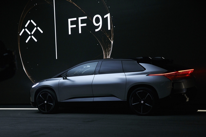 Faraday Future unveils its FF91 electric car at the 2017 Consumer Electronics Show in the U.S. in January 2017. Photo: VCG