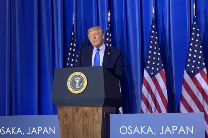 U.S. President Donald Trump at a news conference in Osaka, Japan on Saturday. Photo: Caixin
