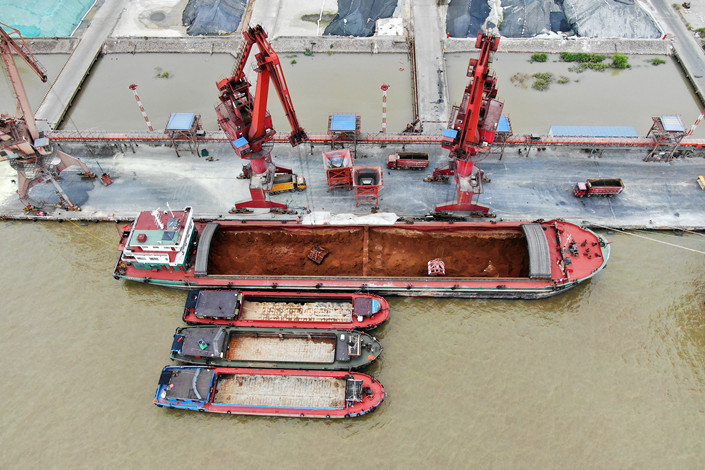 Iron ore at the port of Nantong, East China's Jiangsu province on Sept. 11. Photo: IC Photo