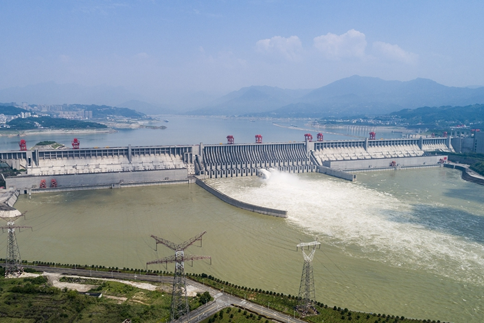 The Three Gorges Dam releases water on June 23 in Yichang, Hubei province. Photo: VCG