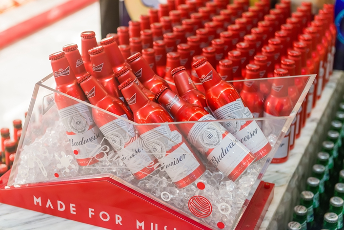 Bottles of Budweiser beer for sale at a KTV in Wuhan city, central China's Hubei province, on Aug. 16, 2018. Photo: IC Photo