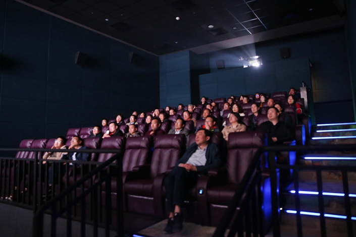 People watch a movie at Lu Xun Cinema in Shaoxing, East China's Zhejiang province, on April 15. Photo: VCG