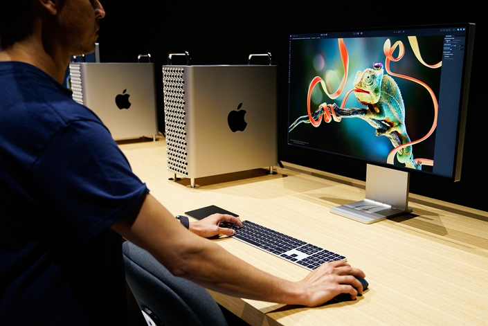 The new Mac Pro computer and display are seen at Apple's annual Worldwide Developers Conference in San Jose, California on June 3, 2019. Photo: VCG