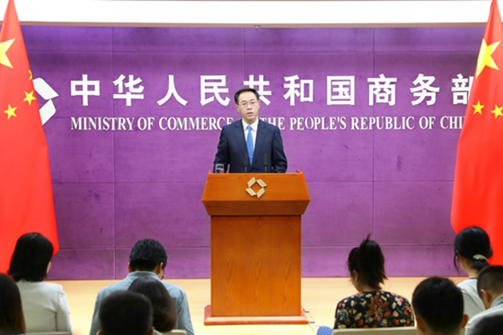 Ministry of Commerce spokesperson Gao Feng speaks at a press conference Thursday. Photo: Ministry of Commerce