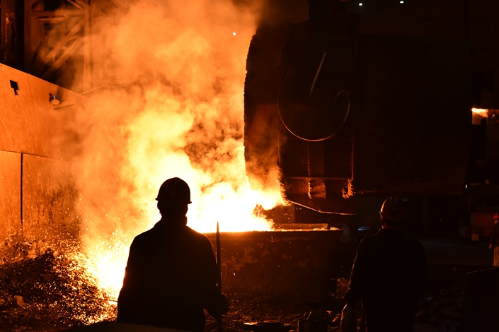 Steel is made at a mill operated by the Shandong Iron and Steel Group on July 21. Photo: IC Photo