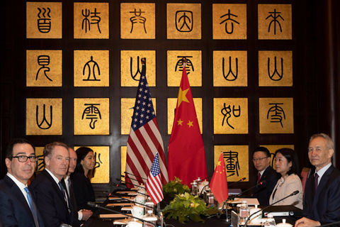 Chinese Vice Premier Liu He (first right) with U.S. Trade Representative Robert Lighthizer and Treasury Secretary Steven Mnuchin before talks started in Shanghai July 31, 2019. Photo: IC Photo
