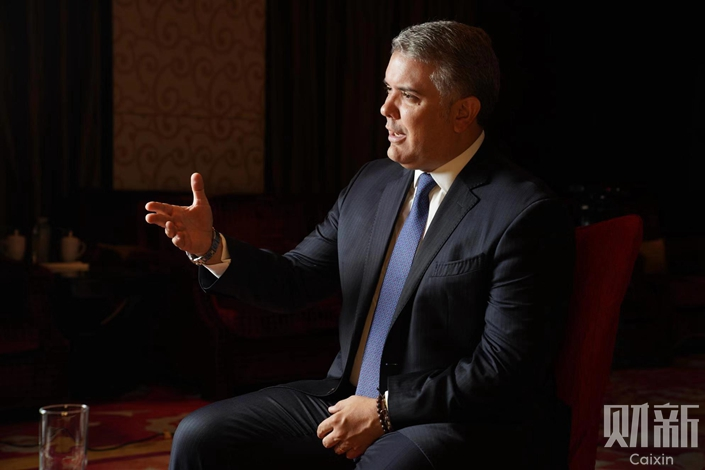 Colombian President Iván Duque Márquez speaks during an interview with Caixin on Tuesday. Photo: Cai Yingli/Caixin