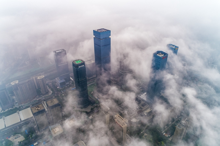 A bird's eye view of the central business district of Xi'an, capital of northwest China's Shaanxi province, on June 6. Photo: VCG