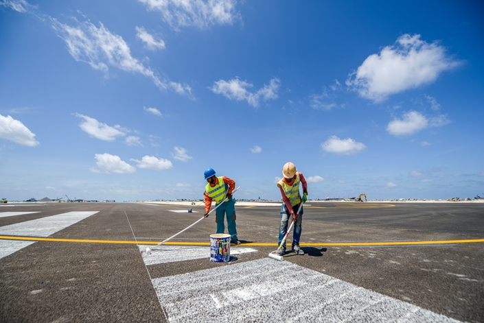View of the new runway built by China's Beijing Urban Construction Group at Velana International Airport on the Maldives' Hulhule Island on Sept. 18. Photo: IC Photo