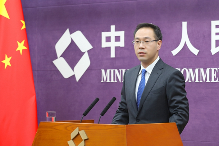 Ministry of Commerce Spokesperson Gao Feng takes questions during a regular ministry press conference on Thursday. Photo: Ministry of Commerce