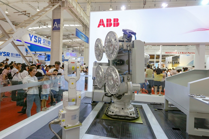 ABB robots on display at the World Robot Conference 2019 in Beijing on Aug. 24. Photo: VCG