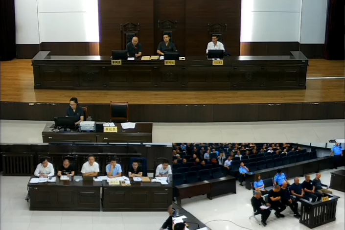 A court in the city of Shenmu in Northwest China's Shaanxi province holds a hearing on Sept. 5 in the case of Li Jun and others suspected disturbing public order. Photo: Supreme People's Court
