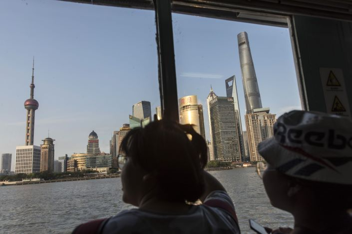 Shanghai's main Lujizui financial district as seen from a boat on the Huangpu River. Photo: Bloomberg