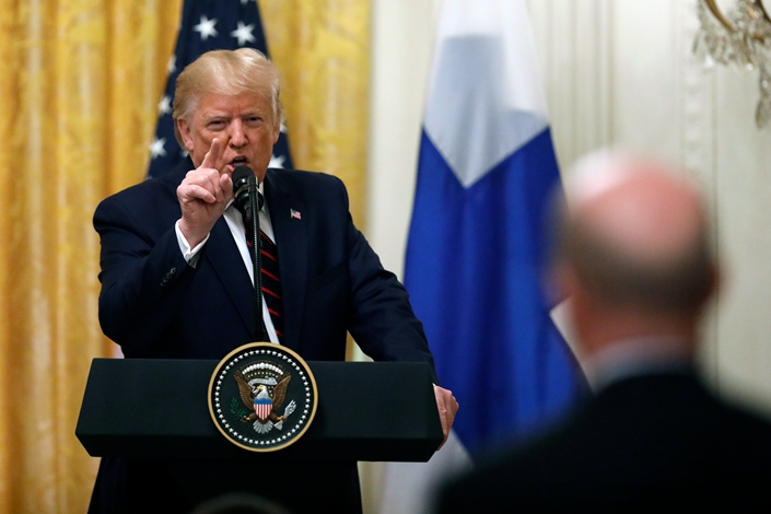 President Donald Trump speaks during a news conference with Finnish President Sauli Niinistö at the White House in Washington, Oct. 2, 2019. Photo: IC Photo