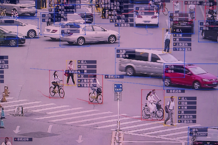 A screen shows a demonstration of SenseTime Group Ltd.'s SenseVideo pedestrian and vehicle recognition system at the company's showroom in Beijing on June 15, 2018. Photo: Bloomberg