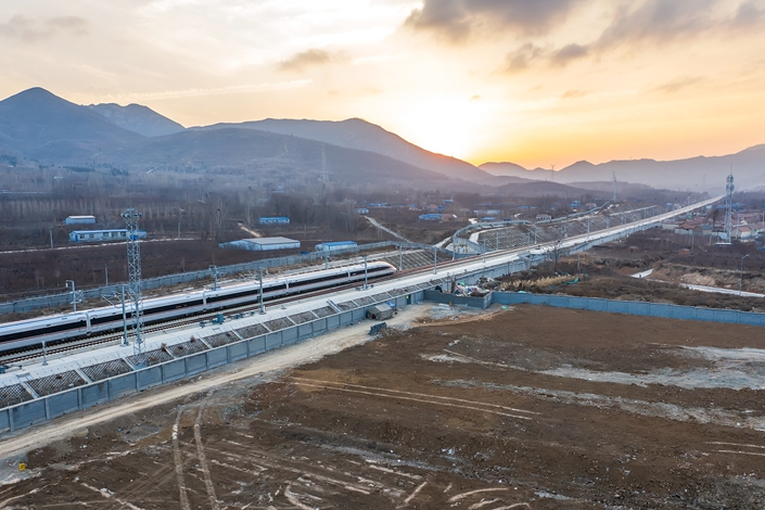 A high-speed train sets off from Qingdao North Railway Station on Dec. 26, 2018. Photo: IC Photo