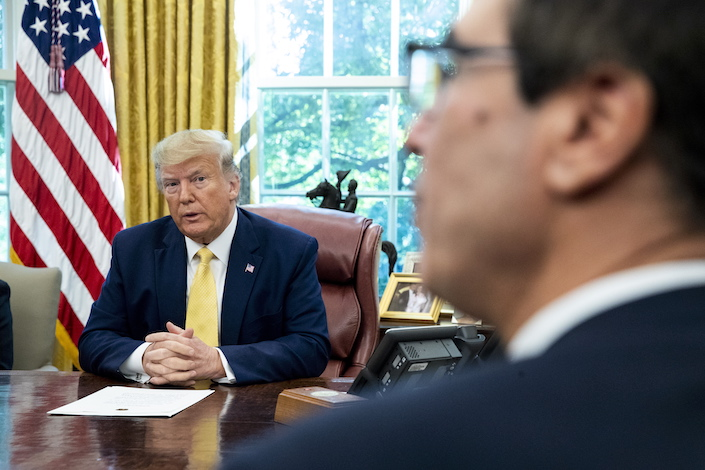 U.S. President Donald J. Trump and U.S. Treasury Secretary Steven Mnuchin Photo: EPA/IC China