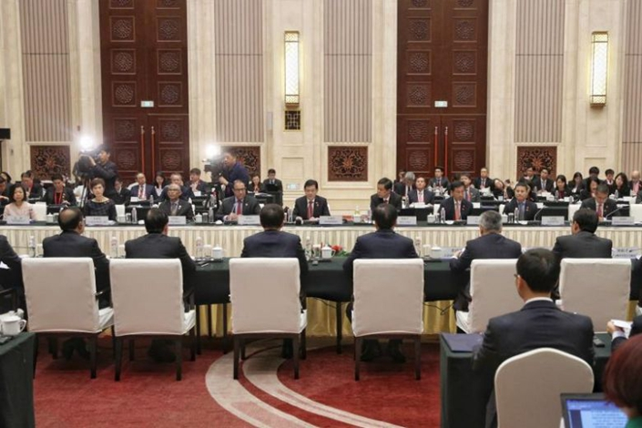 Deputy Prime Minister Heng Swee Keat leading the Singapore delegation as he co-chairs the 15th Joint Council for Bilateral Cooperation in Chongqing on Oct 15, 2019. Photo: Straits Times