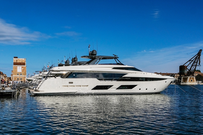 Ferretti yachts are on public display in Venice, Italy. Photo: Bloomberg